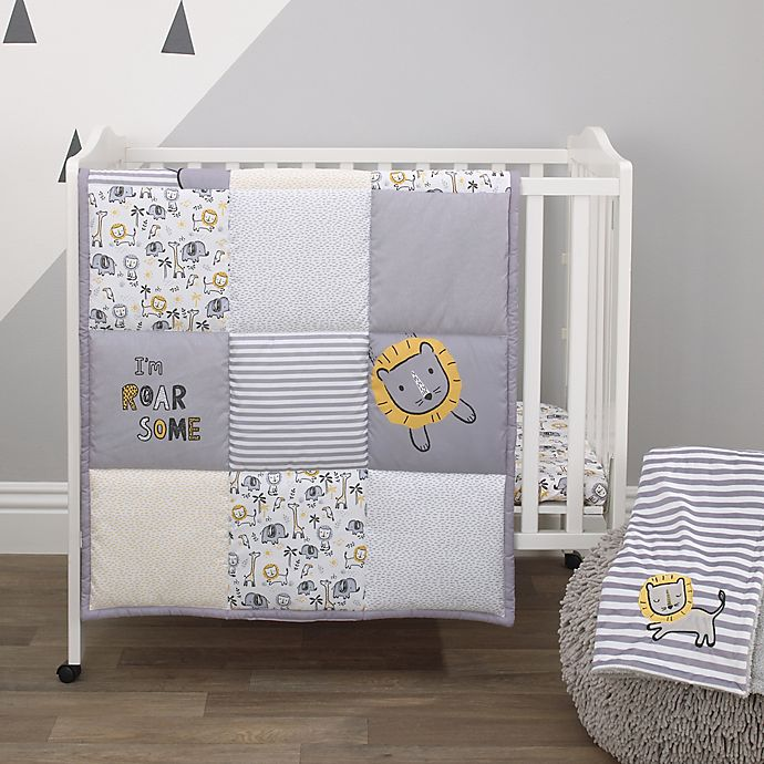 Alternate image 1 for Little Love by NoJo® Roarsome Lion 3-Piece Mini Crib Bedding Set in Yellow/Grey