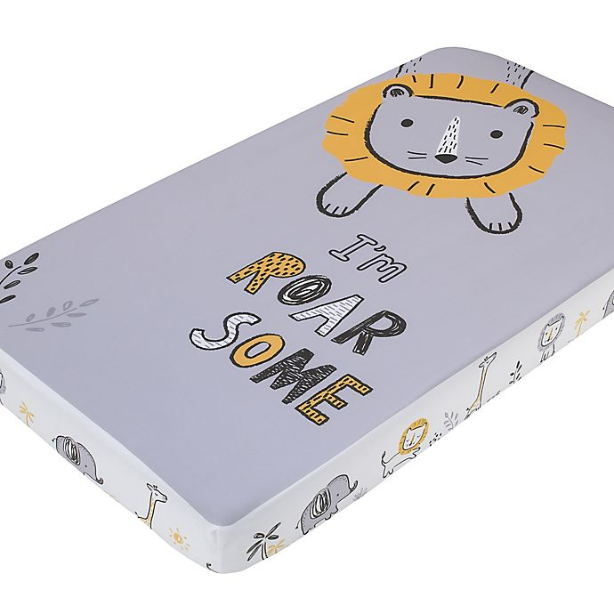 Alternate image 1 for Little Love by NoJo® Roarsome Lion Fitted Crib Sheet in Yellow/Grey