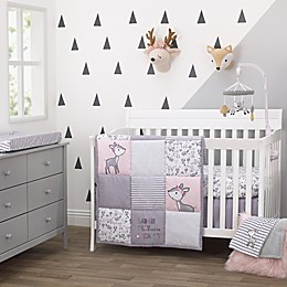 Little Love by NoJo® Sweet Deer 3-Piece Crib Bedding Set in Pink/Grey