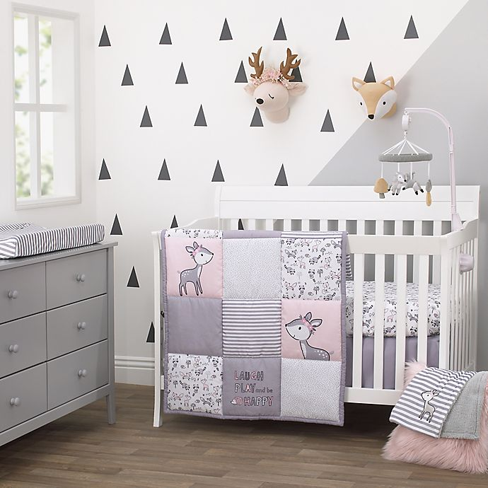 Alternate image 1 for Little Love by NoJo® Sweet Deer Crib Bedding Collection in Grey/Pink
