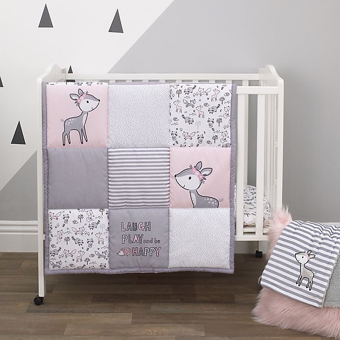 Alternate image 1 for Little Love by NoJo® Sweet Deer 3-Piece Mini Crib Bedding Set in Pink/Grey
