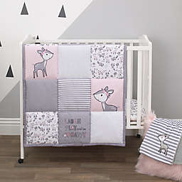 Little Love by NoJo® Sweet Deer 3-Piece Mini Crib Bedding Set in Pink/Grey