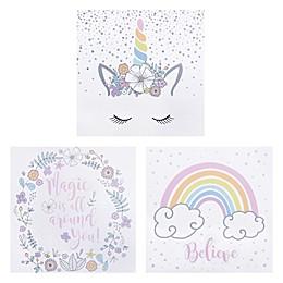 Trend Lab® 3-Pack Rainbow Unicorns Wrapped Canvas Wall Art Set