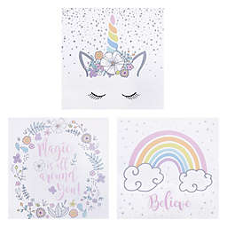 Trend Lab® 3-Pack Rainbow Unicorns Wrapped Canvas Wall Art Set