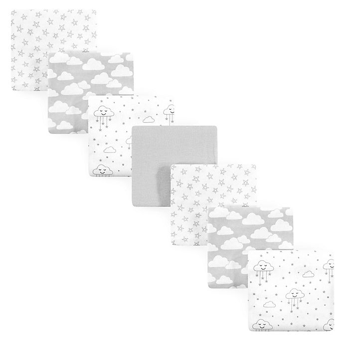 Alternate image 1 for Hudson Baby® 7-Pack Clouds Flannel Receiving Blankets in Grey