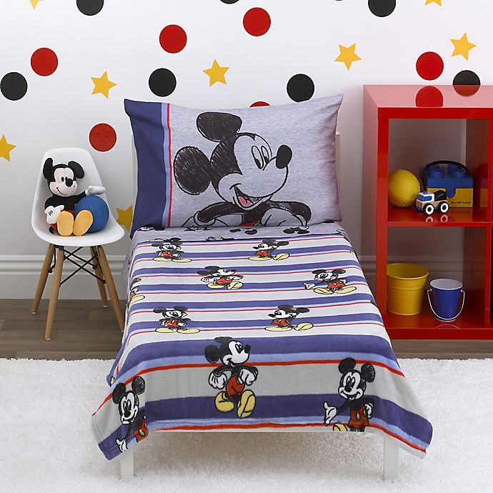 Alternate image 1 for Disney® Mickey Mouse Beyond Classic 4-Piece Toddler Comforter Set in Blue