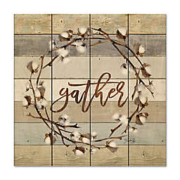 """Courtside Market™ """"Gather"""" Cotton Wreath 12-Inch Square Wood Wall Art"""