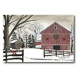 Courtside Market Christmas Red Barn 24-Inch x 36-Inch Canvas Wall Art
