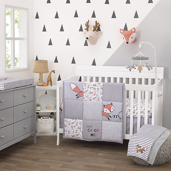 Alternate image 1 for Little Love by NoJo® Lil Fox Crib Bedding Collection in Orange/Grey