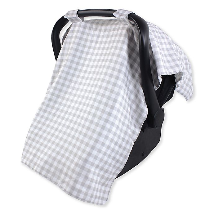 Alternate image 1 for Hudson Baby® Car Seat Canopy in Grey Gingham