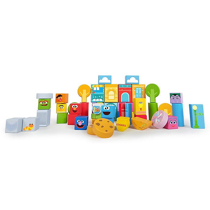 Alternate image 1 for Bright Starts™ Set-the-Scene Sesame Street™ Wooden Storytelling Blocks