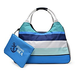 Insulated Beach Tote with Detachable Swim Pouch in Blue Stripe