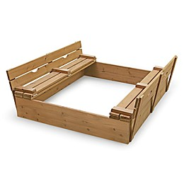 Badger Basket Convertible Cedar Sandbox with Bench Seats in Natural