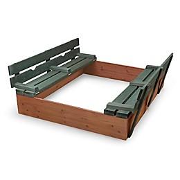 Badger Basket Convertible Cedar Sandbox with Bench Seats in Green