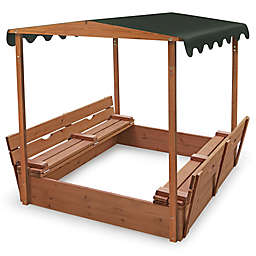 Badger Basket Convertible Cedar Sandbox with Canopy and Bench Seats in Natural