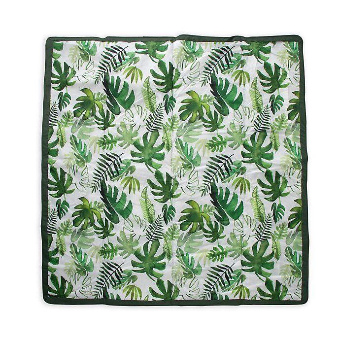 Alternate image 1 for Little Unicorn Tropical Outdoor Blanket in Green/White
