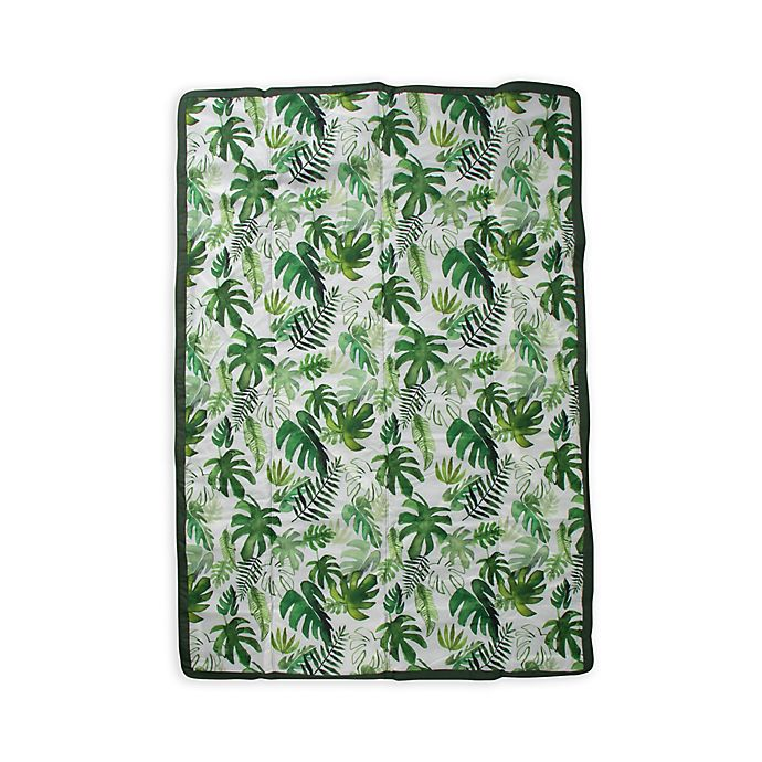 Alternate image 1 for Little Unicorn 5' x 7' Tropical Outdoor Blanket in Green/White