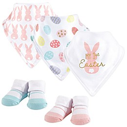 Hudson Baby® 5-Piece First Easter Bib and Headband Set in Pink