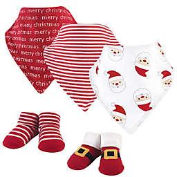 Hudson Baby® Size 0-9M 5-Piece Santa Bib and Sock Set in Red