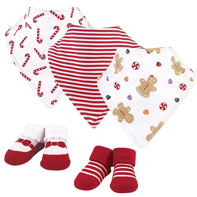 Alternate image 1 for Hudson Baby® Size 0-9M 5-Piece Holiday Bib and Socks Set in Red/White