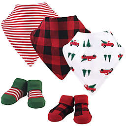 Hudson Baby® Size 0-9M 5-Piece Christmas Tree Bib and Sock Set in Red