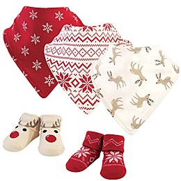 Hudson Baby® Size 0-9M 5-Piece Reindeer Bib and Sock Set in Brown