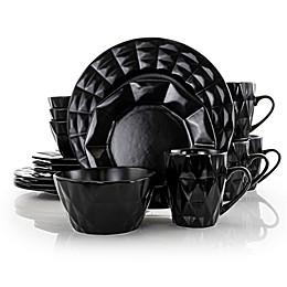 Elama Dark Diamond 16-Piece Dinnerware Set