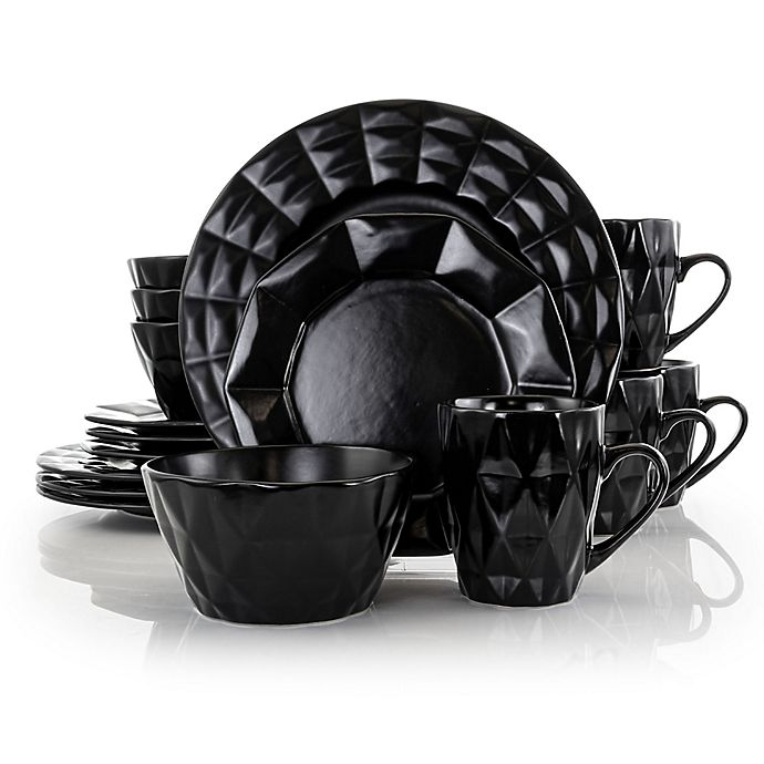 Alternate image 1 for Elama Dark Diamond 16-Piece Dinnerware Set