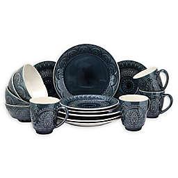 Elama Navy Suite 16-Piece Dinnerware Set