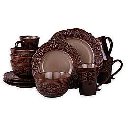 Elama Selina 16-Piece Dinnerware Set in Mahogany