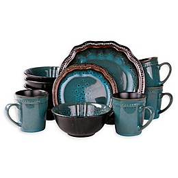 Elama Scabiosa 16-Piece Dinnerware Set in Aqua