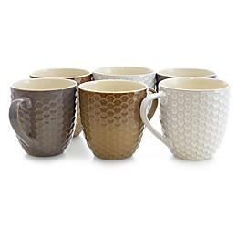 Elama Dropletts Multicolor Mugs (Set of 6)