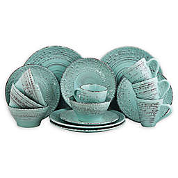 Elama Ocean Aromas 16-Piece Dinnerware Set in Turquoise
