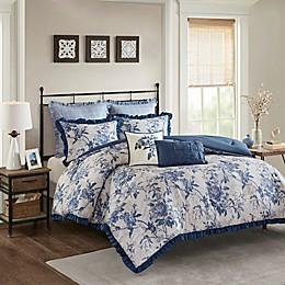 Madison Park Abigail 7-Piece Cotton Printed Ruffle Comforter Set in Navy