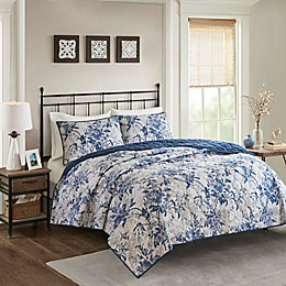 Madison Park Abigail 3-Piece Cotton Printed Reversible Coverlet Set in Navy