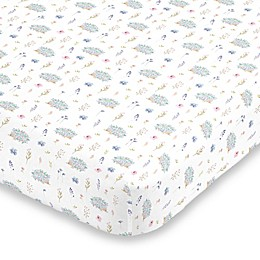 NoJo® Flower and Hedgehog Fitted Mini Crib Sheet in Blue