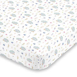 NoJo® Flower and Hedgehog Fitted Crib Sheet in Blue