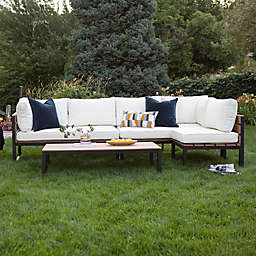 Forest Gate Modern 4-Piece Outdoor Patio Conversation Set in Natural