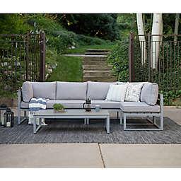 Forest Gate Modern 4-Piece Outdoor Patio Conversation Set in Grey