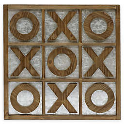 Tic Tac Toe 17.9-Inch Square Wooden Wall Art