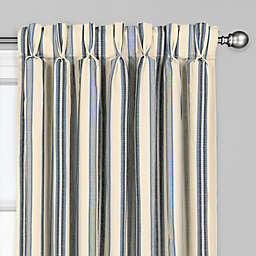 Soiree 108-Inch Pinch Pleat/Back Tab Window Curtain Panel in Blue
