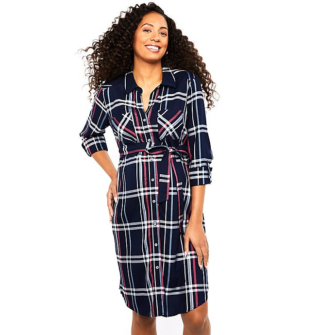 Alternate image 1 for Motherhood Maternity® Plaid Button-Front Maternity Dress in Navy