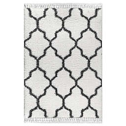 JONATHAN Y Marrakesh Shag Trellis with Tassels Area Rug in Ivory