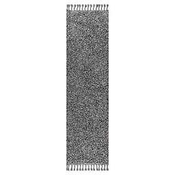 JONATHAN Y Mercer Shag Plush Tassel 2' x 8' Runner Rug in Charcoal