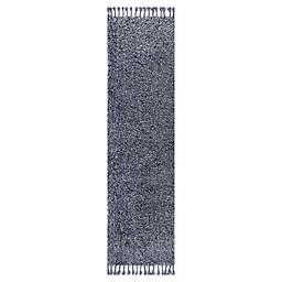 JONATHAN Y Mercer Shag Plush Tassel 2' x 8' Runner Rug in Denim Blue