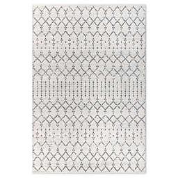 JONATHAN Y Moroccan Hype Boho Diamond 3' x 5' Area Rug in Cream/Grey