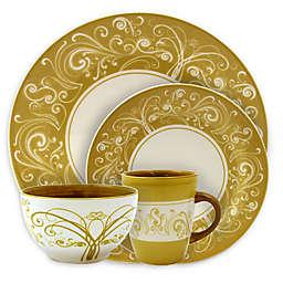 Elama Floral Swirl 16-Piece Dinnerware Set