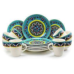 Elama Blue Summer 16-Piece Dinnerware Set