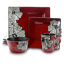 Elama Sunset Flower 16-Piece Dinnerware Set in Red