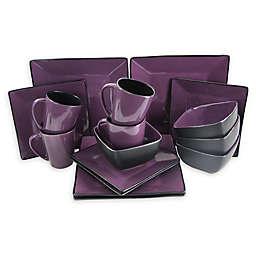 Elama Violet Loft 16-Piece Dinnerware Set